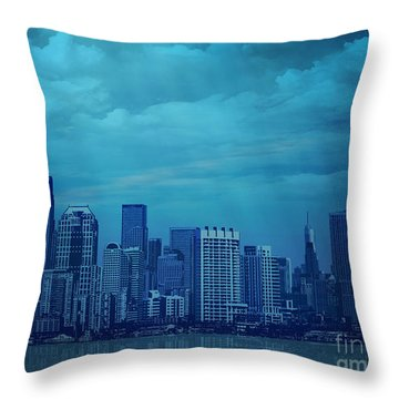 City In Blue Throw Pillow by Bedros Awak