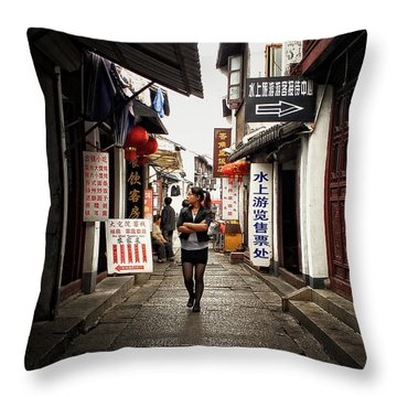 Throw Pillow featuring the photograph City Life In Ancient China by Lucinda Walter