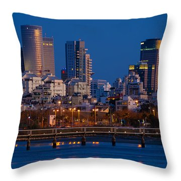Throw Pillow featuring the photograph city lights and blue hour at Tel Aviv by Ron Shoshani