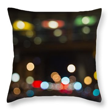 City Lights At Night Throw Pillow by Susan Stone