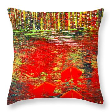 City Lights - Sold Throw Pillow by George Riney