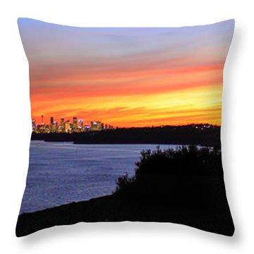 Throw Pillow featuring the photograph City Lights In The Sunset by Miroslava Jurcik