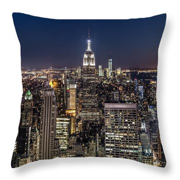 Throw Pillow featuring the photograph City Lights by Mihai Andritoiu