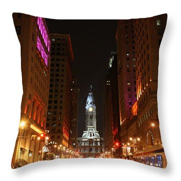Philadelphia City Lights Throw Pillow by Christopher Woods