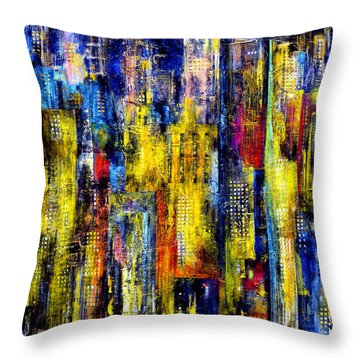 Throw Pillow featuring the painting City Nightime Metropolis by Katie Black