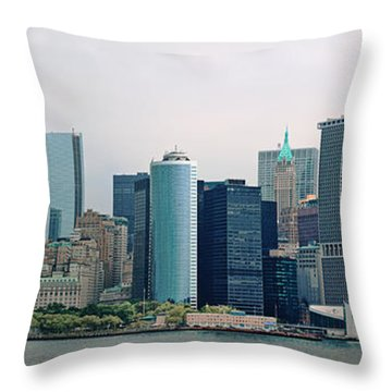 City - Ny - The Financial District Throw Pillow by Mike Savad