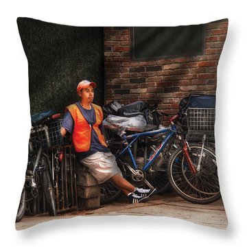 City - Ny - Waiting For The Next Delivery Throw Pillow by Mike Savad