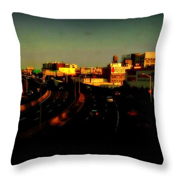 Throw Pillow featuring the photograph City Of Gold - New York City Sunset With Water Towers by Miriam Danar