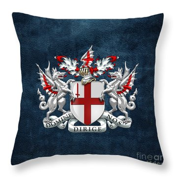 City Of London - Coat Of Arms Over Blue Leather  Throw Pillow