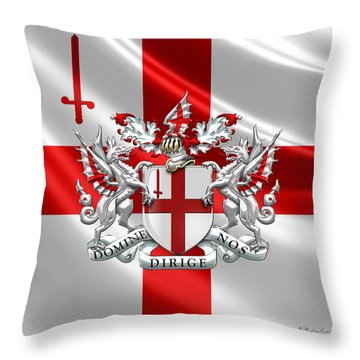 City Of London - Coat Of Arms Over Flag  Throw Pillow