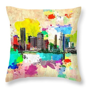 City Of Miami Grunge Throw Pillow by Daniel Janda