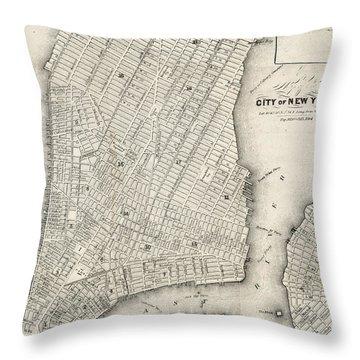 City Of New York Circ 1860 Throw Pillow