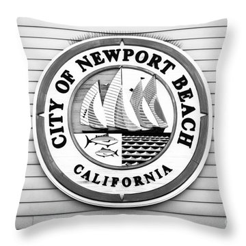 City Of Newport Beach Sign Black And White Picture Throw Pillow by Paul Velgos