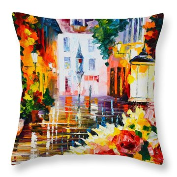 City Of Roses Throw Pillow by Leonid Afremov