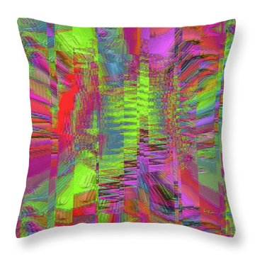 Throw Pillow featuring the mixed media City Of Stairways by Carl Hunter