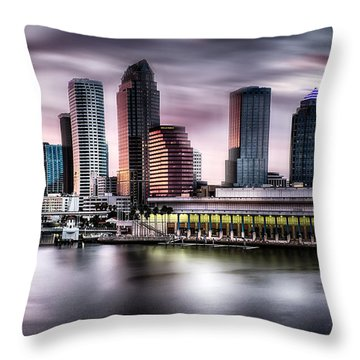 City Of Tampa Skyline At Dusk In Hdr Throw Pillow by Michael White