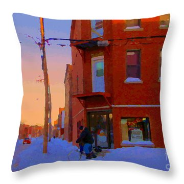 City Of Verdun Winter Sunset Pierrette Patates Art Of Montreal Street Scenes Carole Spandau Throw Pillow by Carole Spandau