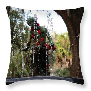 City Park Fountain Throw Pillow