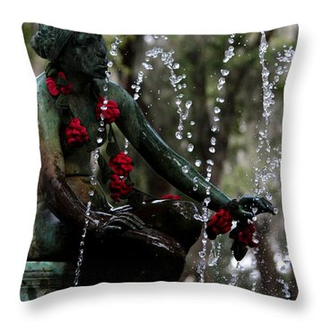 City Park Fountain II Throw Pillow