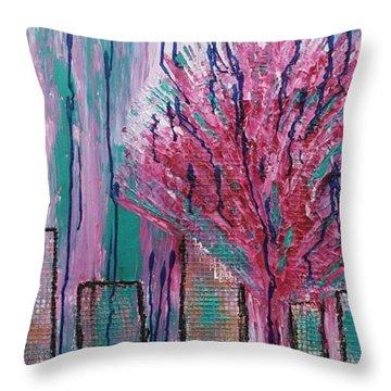 City Pear Tree Throw Pillow