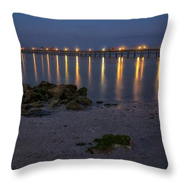 City Pier At Night Throw Pillow