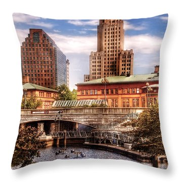 City - Providence Ri - The Skyline Throw Pillow by Mike Savad