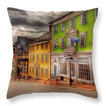 City - Providence Ri - Thomas Street Throw Pillow by Mike Savad