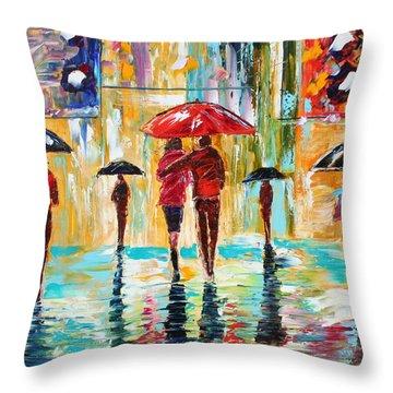 City Rain Throw Pillow by Karen Tarlton