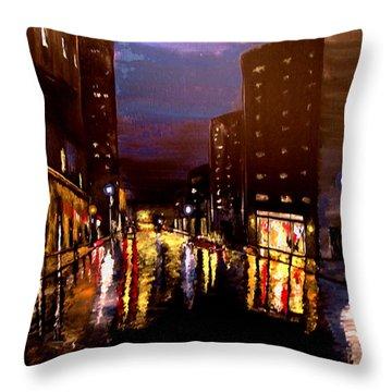 City Rain Throw Pillow by Mark Moore