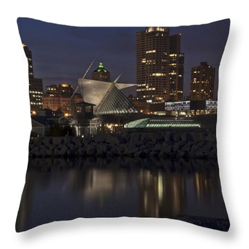 Throw Pillow featuring the photograph City Reflection by Deborah Klubertanz