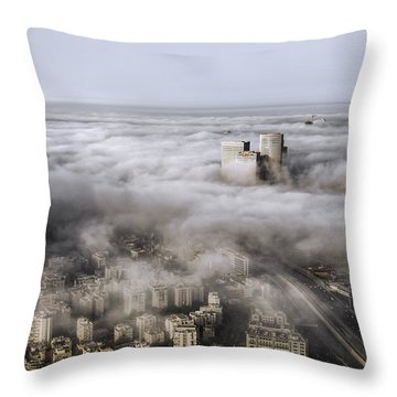 Throw Pillow featuring the photograph City Skyscrapers Above The Clouds by Ron Shoshani