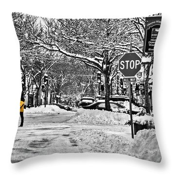City Snowstorm Throw Pillow