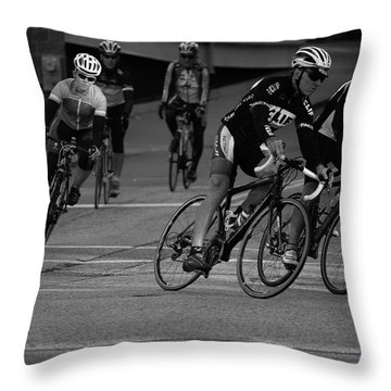 City Street Cycling Throw Pillow