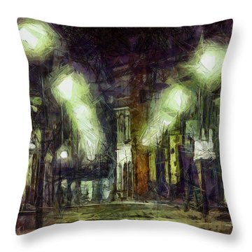 Throw Pillow featuring the drawing City Street by Joe Misrasi