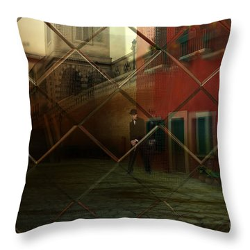 Throw Pillow featuring the digital art City Street by Liane Wright
