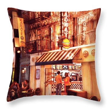 City - Vegas - Ny - Broadway Burger Throw Pillow by Mike Savad