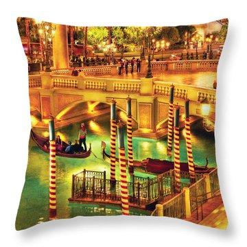 City - Vegas - Venetian - The Venetian At Night Throw Pillow by Mike Savad