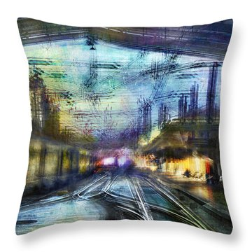 Cityscape #37 - Crossing Lines Throw Pillow by Alfredo Gonzalez