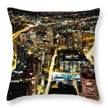 Throw Pillow featuring the photograph Cityscape Golden Burrard Bridge Mdlxiv by Amyn Nasser