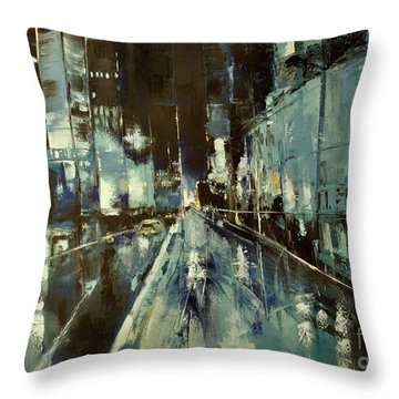 Throw Pillow featuring the painting Cityscape by Maja Sokolowska