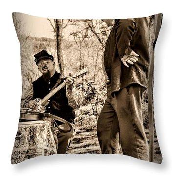 Civil War Banjo Player Throw Pillow by Paul Ward