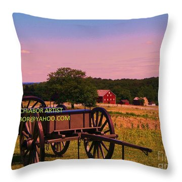 Civil War Caisson At Gettysburg Throw Pillow
