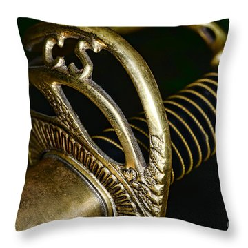 Civil War - Confederate Officer Sword - Weapon Throw Pillow by Paul Ward