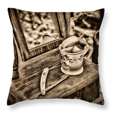 Civil War Shaving Mug And Razor Black And White Throw Pillow by Paul Ward
