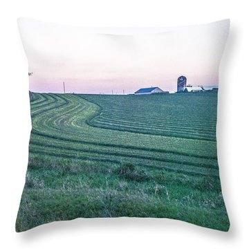 Farm Fields At Dusk Throw Pillow