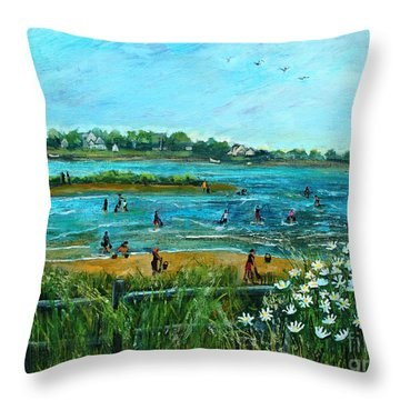 Throw Pillow featuring the painting Clam Diggers At Menauhant Beach by Rita Brown