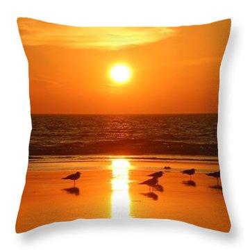 Clam Digging At Sunset - 2 Throw Pillow