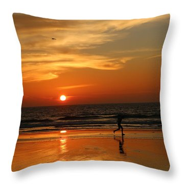 Clam Digging At Sunset - 3 Throw Pillow by Christy Pooschke