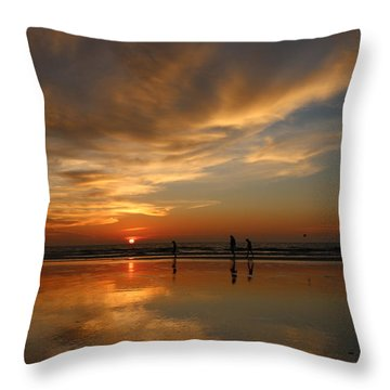 Clam Digging At Sunset -1  Throw Pillow by Christy Pooschke