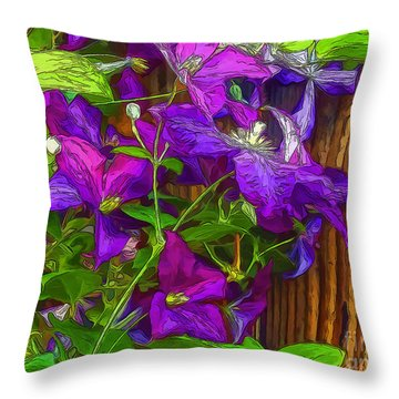 Clamatis On The Fence-2014 Throw Pillow